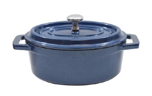 8 OZ MEDITERRANEAN DIE CAST ALUMINIUM MINI ROUND COCOTTE-BLUE