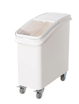 INGREDIENT BIN WITH BRAKE CASTERS AND SCOOP