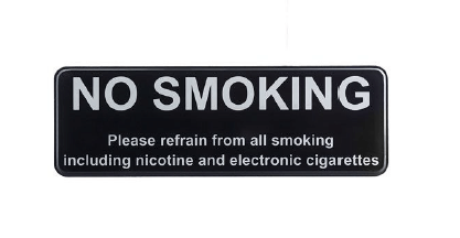 SIGN, NO SMOKING AND ELECTRONIC CIGARETTES